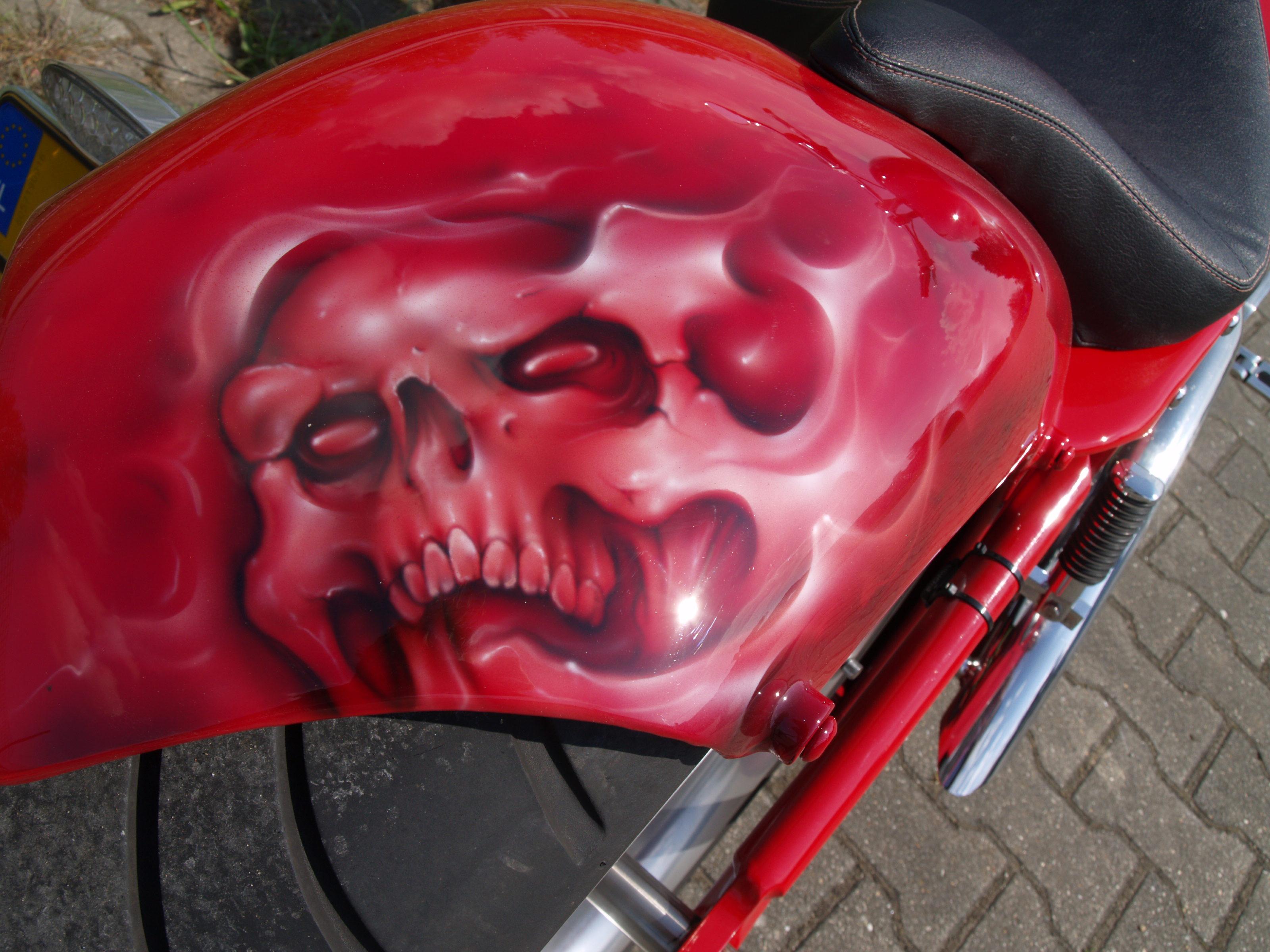 Bloodred Ghost Skull Harley Custom Paint